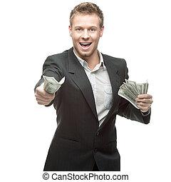 איש עסקים, שמח, להחזיק כסף