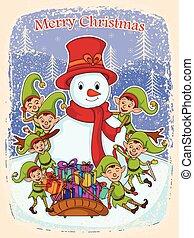 איש שלג, שדון, שמח, מתנה, חג המולד