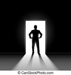 איש, doorway., לעמוד, צללית