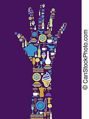 אכלן, איקון, קבע, יד אנושית