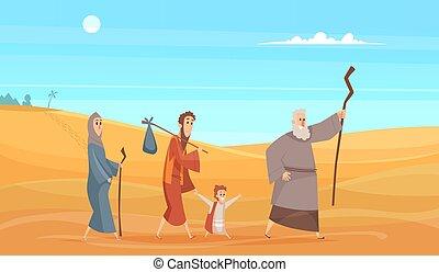 אלוהים, characters., היסטורי, narrative, ללכת, דוגמה, אנשים, נסיעה, רקע, נוף, תנך, וקטור, נוף, קדוש, קינוח