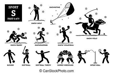אלפבית, איקונים, *s*, ספורט, pictogram., משחקים, וקטור
