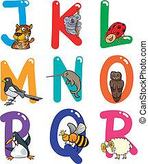 אלפבית, בעלי חיים, ציור היתולי