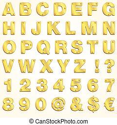 אלפבית, זהב, וקטור, זהוב, מכתב