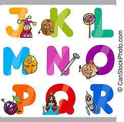 אלפבית, ילדים, מכתבים, חינוך, ציור היתולי