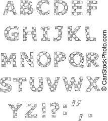 אלפבית, כתוב, משובץ, העבר