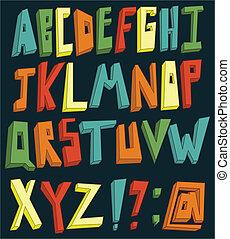 אלפבית, צבעוני, 3d