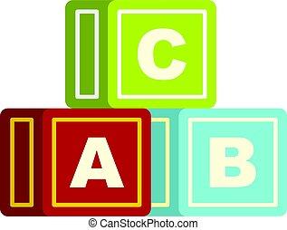 אלפבית, קוביות, הפרד, צבעוני, איקון