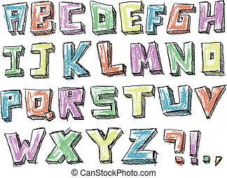 אלפבית, sketchy, העבר, צבעוני, צייר