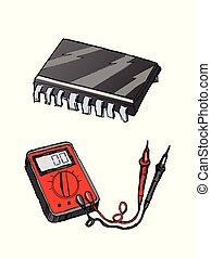 אלקטרוני, מרכיבים, לבחון, צבע, illustration., העבר, לתקן, וולטמטר, למדוד, צייר, רשום, electronics., וקטור, מיכרוכירכאיט