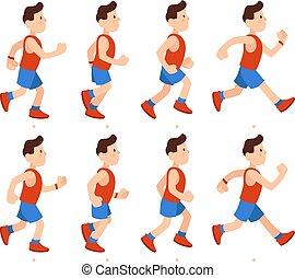 אמונית, דירה, זכר, רוץ, בחור, אתלטי, sequence., דוגמה, ציור היתולי, רץ, לרוץ, וקטור, אנימציות, מסגרות, רגליים, אנימציה, man.