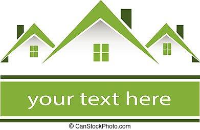 אמיתי, בתים, ירוק, רכוש, לוגו