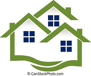 אמיתי, בתים, לוגו, רכוש, גלים