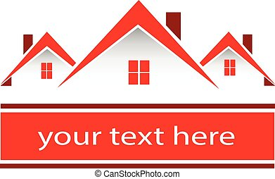 אמיתי, בתים, רכוש, אדום, לוגו