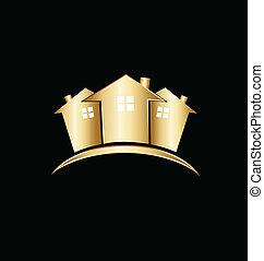 אמיתי, בתים, רכוש, זהב, לוגו