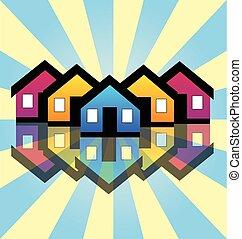 אמיתי, בתים, רכוש, כרטיס, לוגו