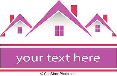 אמיתי, ורוד, בתים, רכוש, לוגו
