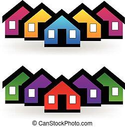 אמיתי, קבע, רכוש, בתים, וקטור, לוגו