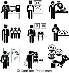אמיתי, רכושים, בניה, עבודות