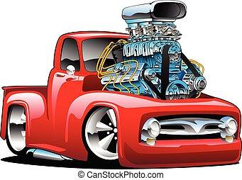 אמריקאי, חם, הפרד, משאית, קלאסי, ציור היתולי, מוט, וקטור, טנדר, דוגמה