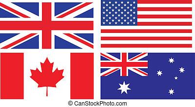 אנגלית, דגלים, לדבר, ארצות