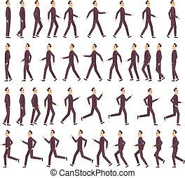 אנימציה, דירה, מהיר, לרוץ, וקטור, אופי, דיוקן, משחק, 2d, איש עסקים, ציור היתולי, keyframe, הבט, שדון, תמוך, man.