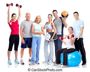 אנשים., אולם התעמלות, fitness., לחייך