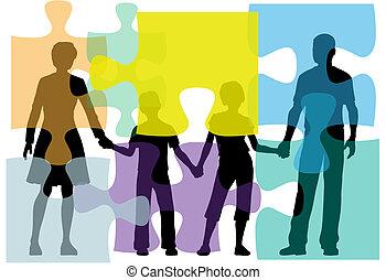 אנשים, בלבל, בעיה, ליעץ, משפחה, פתרון