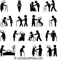 אנשים, דאג, נכות, לאמון, בריאות, נכה, איקונים