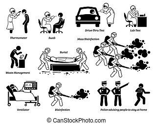 אנשים, וירוס, לבחון, cliparts., עובדים, לבדוק, רפואי, זהום
