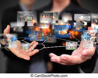 אנשים, להחזיק, תקשורת, סוציאלי, עסק