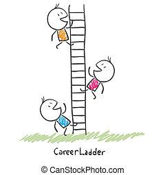 אנשים, לטפס, קונצפטואלי, קריירה, ladder., עסק, של איגוד מקצועי, , דוגמה