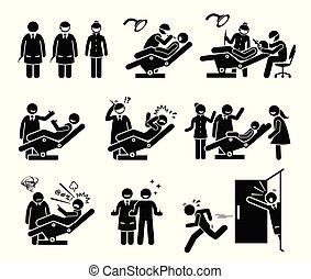 אנשים מצחיקים, של השיניים, רופא שניים, מרפאה, reactions.
