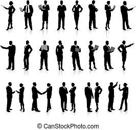 אנשים, צללית, נפלא, קבע, עסק