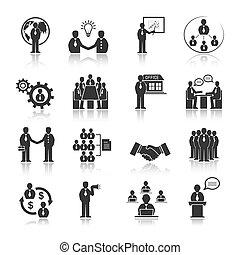 אנשים, קבע, פגישה, איקונים של עסק