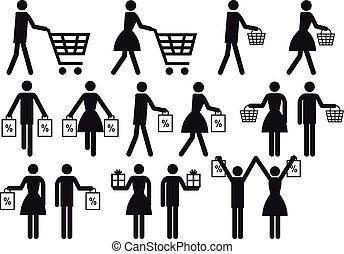 אנשים, קבע, קניות, וקטור, איקון