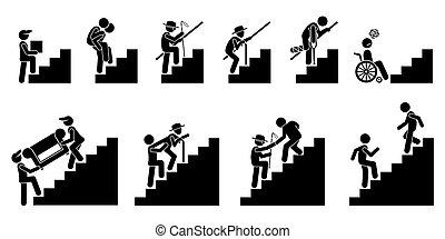אנשים, שונה, או, מדרגות, מדרגות.