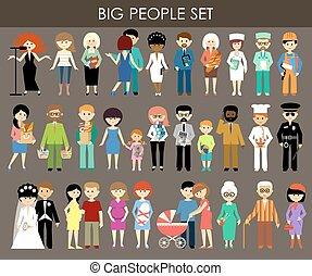 אנשים, שונה, ages., קבע, מקצועות
