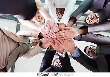 אנשים של עסק, ביחד, מתחת, ידיים, הבט