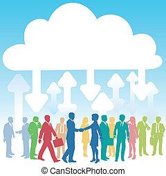 אנשים של עסק, חברה, לחשב, זה, ענן