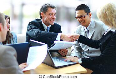 אנשים של עסק, ידיים, לזעזע, , לגמור, פגישה