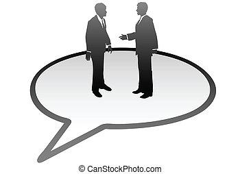 אנשים של עסק, תקשורת, בתוך, בועה של נאום, דבר