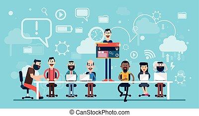 אנשי עסק, מעצב, רשת, לעבוד, התחבר, מקום עבודה