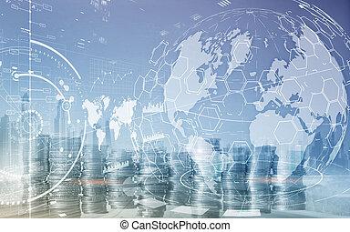 אסטרטגיה, שלוט, ממן, מושג, עסק, כפיל, להחליף, לוח, אחסן, marketing., חשיפה
