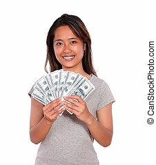 אסיתי, אישה, כסף, פדה, צעיר, לחייך