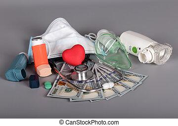 אפור, כסף, משאפים, הסתר, טיפול, דיאגנוסטי, סטטוסקופ