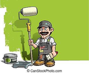 אפור, קיר, מתקן כל דבר, -, מדים, צייר