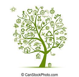 אקולוגיה, עץ, מושג, ירוק, עצב, שלך