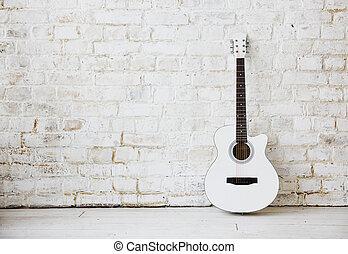 אקוסטי, לבן, לסמוך, ריק, גיטרה, נגד, חדר, קיר