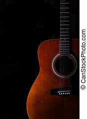 אקוסטי, רקע, שחור, גיטרה